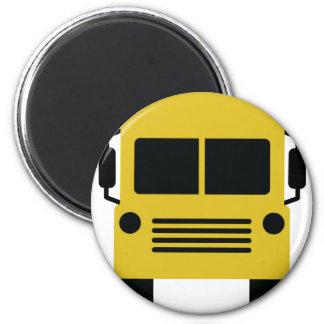 yellow school bus symbol 2 inch round magnet