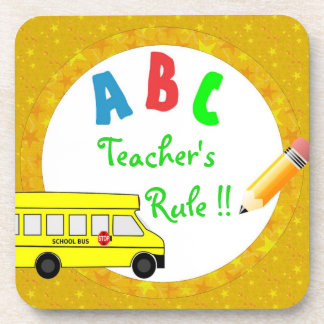Yellow School Bus Teacher's Rule Coaster Set