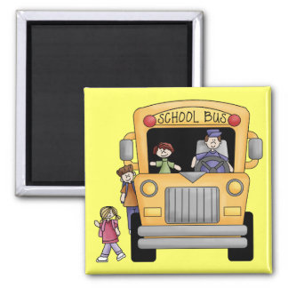 Yellow School Bus Tshirts and Gifts 2 Inch Square Magnet