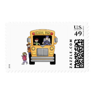 Yellow School Bus Tshirts and Gifts Stamps