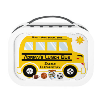 Yellow School Lunch Bus Lunchboxes