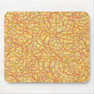 Yellow scribbled lines pattern mouse pad