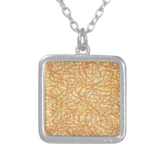 Yellow scribbled lines pattern silver plated necklace