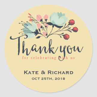 Yellow Script Thank You Flower Wedding Sticker