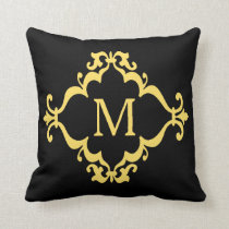 Yellow Scroll Personalized Custom Monogram Pillow