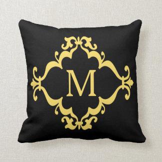 Yellow Scroll Personalized Custom Monogram Pillow