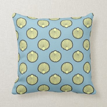 Beach Themed Yellow Sea Scallop Shell Pattern Throw Pillow