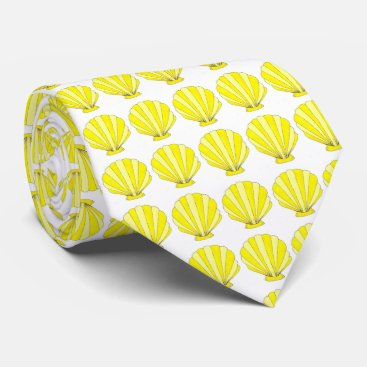 Beach Themed Yellow Sea Shell Seashell Shells Print Beach Tie