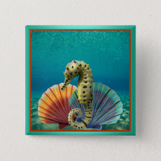 Yellow Seahorse and Scallop Shells Pinback Button