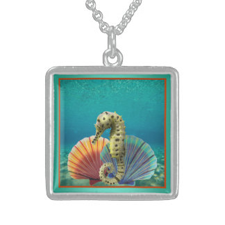 Yellow Seahorse and Scallop Shells Sterling Silver Necklace