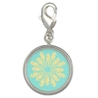 Yellow Seahorse Flower Aquamarine Charm