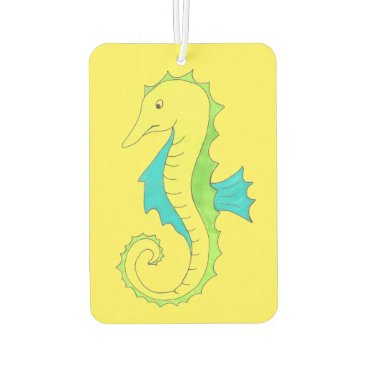 Beach Themed Yellow Seahorse Sea Horse Ocean Marine Life Beach Car Air Freshener