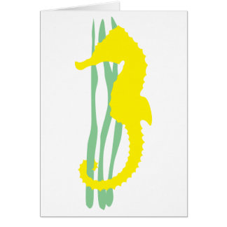 Yellow Seahorse with Sea Grass Stationery Note Card