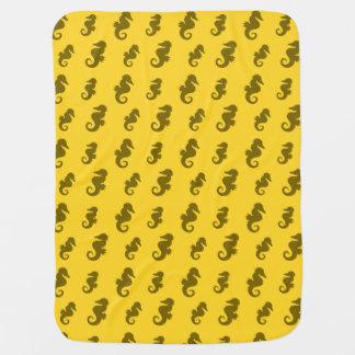 Yellow seahorses swaddle blanket