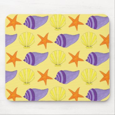 Beach Themed Yellow Seashell Sea Shell Conch Starfish Beach Mouse Pad