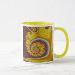 Yellow Seashell Spiral Fractal Mug