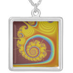 Yellow Seashell Spiral Fractal Square Pendant Necklace