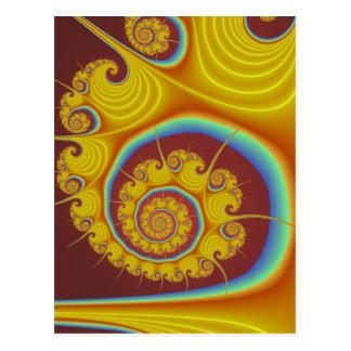 Yellow Seashell Spiral Fractal Postcard