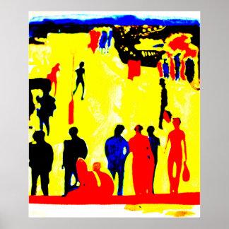 Yellow Seaside Promenade Street Scene Poster