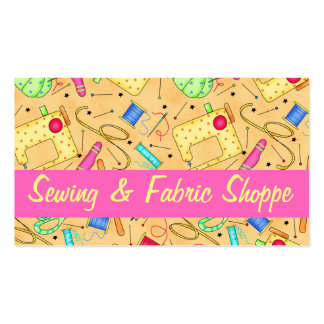 Yellow Sewing Art Fabric Store Promotion Double-Sided Standard Business Cards (Pack Of 100)