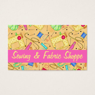 Yellow Sewing Art Fabric Store Promotion Business Card