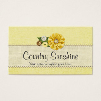 Yellow Sewing Buttons & Flower - Country Sunshine Business Card