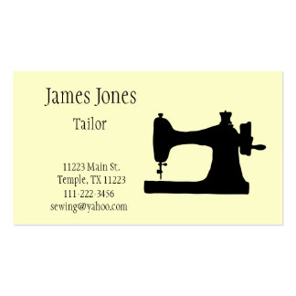 Yellow Sewing Machine Tailor Business Card