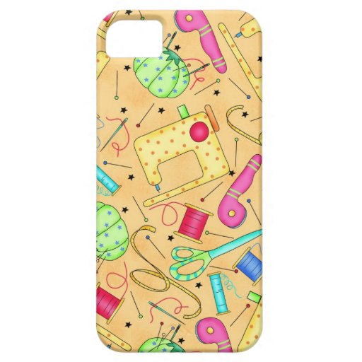 Yellow Sewing Notions Art Custom iPhone 5 Case