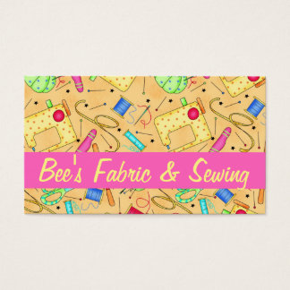 Yellow Sewing Notions Art Fabric Store Business Card