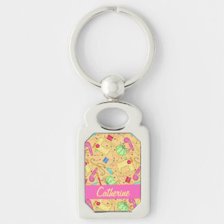 Yellow Sewing Notions Art Name Personalizd Silver-Colored Rectangular Metal Keychain