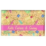 Yellow Sewing Notions Art Name Personalizd Table Card Holders