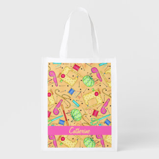 Yellow Sewing Notions Art Name Personalizd Grocery Bags