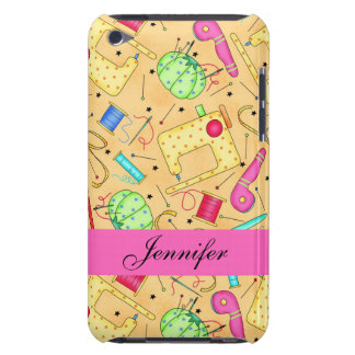 Yellow Sewing Notions Art Name Personalized Barely There iPod Cover