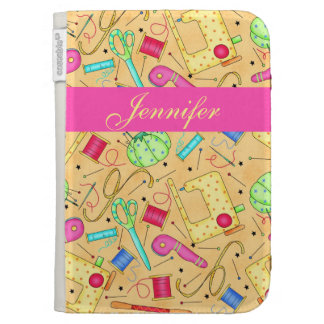 Yellow Sewing Notions Art Name Personalized Kindle 3G Case