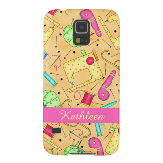 Yellow Sewing Notions Art Name Personalized Galaxy S5 Covers