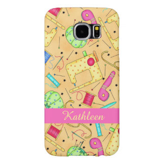Yellow Sewing Notions Art Name Personalized Samsung Galaxy S6 Cases
