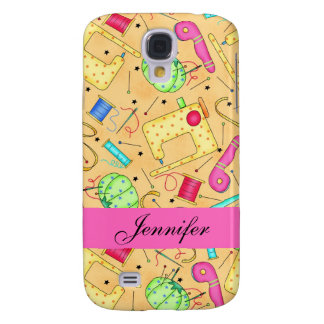 Yellow Sewing Notions Art Name Personalized Galaxy S4 Cover