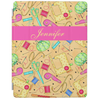 Yellow Sewing Notions Art Name Personalized iPad Smart Cover