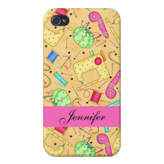 Yellow Sewing Notions Art Name Personalized iPhone 4 Cover