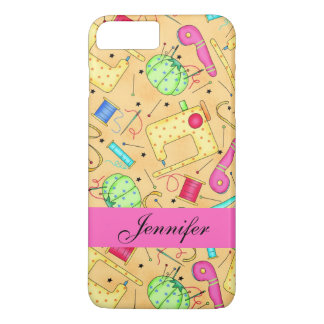 Yellow Sewing Notions Art Name Personalized iPhone 8 Plus/7 Plus Case