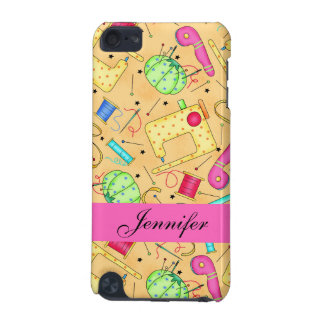 Yellow Sewing Notions Art Name Personalized iPod Touch 5G Cover