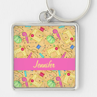 Yellow Sewing Notions Art Name Personalized Keychain