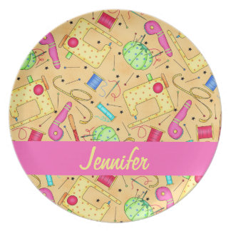 Yellow Sewing Notions Art Name Personalized Party Plate