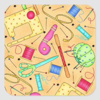 Yellow Sewing Notions Art Sticker