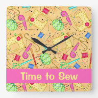 Yellow Sewing Notions Art Time to Sew Name Custom Square Wall Clock