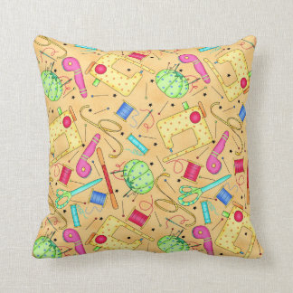 Yellow Sewing Notions Decorative Pillow