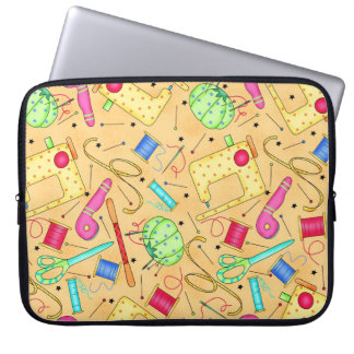 Yellow Sewing Notions Laptop Sleeve
