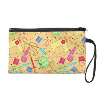 Yellow Sewing Notions Wristlet Clutch