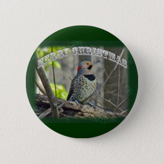 Yellow-Shafted Flicker Merry Christmas Items Button