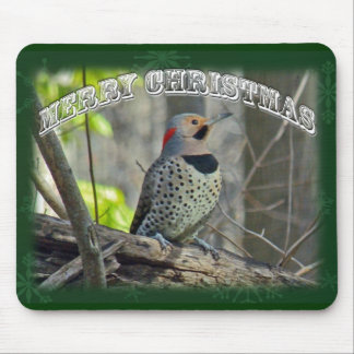 Yellow-Shafted Flicker Merry Christmas Items Mouse Pad